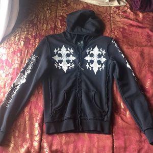 Affliction black sweatshirt with white designs